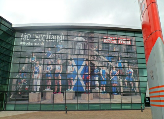 Go Scotland slogan at the Daily Record Building in Glasgow