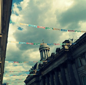 Bunting in the Merchant City during Glasgow 2014 Commonwealth Games
