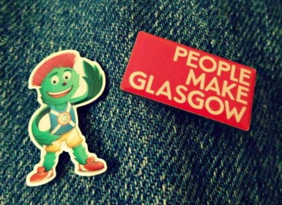 Clyde and People Make Glasgow lapel pins from Commonwealth Games